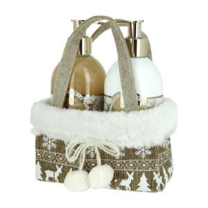 Zestaw mydło w płynie i balsam do rąk idealne na prezent, ładnie zapakowane w świąteczny koszyk jako ciekawa ozdoba w łazience