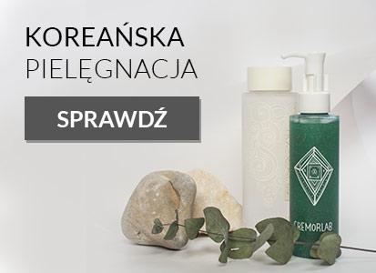 Prezentacja produktów marki Cremorlab na białym tle widoczny kamien szlachetny i 3 produkty