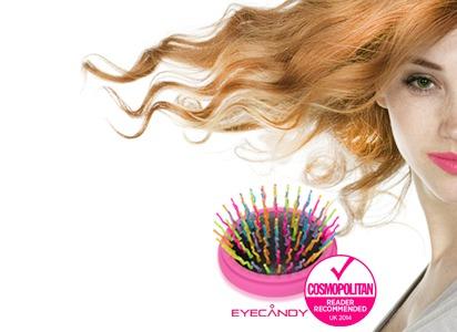 Eye candy - Kolorowa Szczotka do włosów na białym tle z emblematem produkt rekomendowany przez Cosmopolitan w 2014 roku