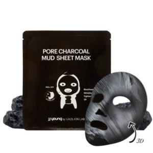 JJYoung by Caolion Lab - oczyszczająca pory maska błotna w czarnej płachcie. opakowanie czarne widoczne na białym tle