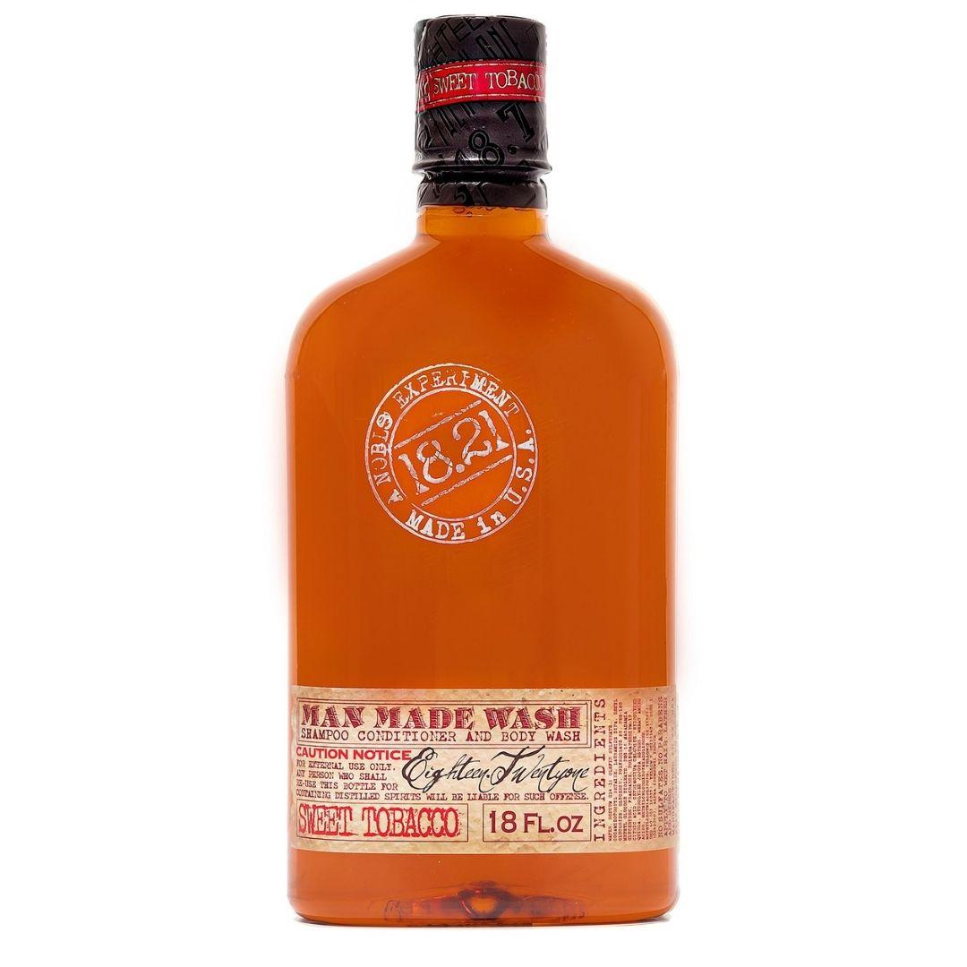 18.21 Man Made Wash trzy w jednym - szampon, odżywka i żel pod prysznic o zapachu słodkiego tytoniu w butelce przypominającej whisky, 500 ml