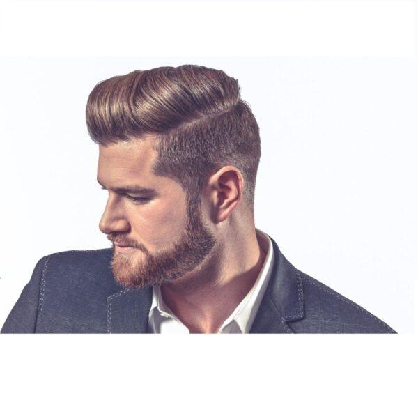 Elegancki mężczyzna z wystylizowanymi włosami i brodą