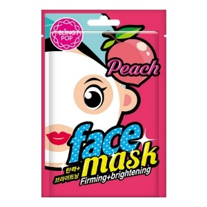 maska w płachcie, na zdjęciu widoczne różowe opakowanie z rysunkową brzoskwinią i zarysem komiksowej twarzy kobiety