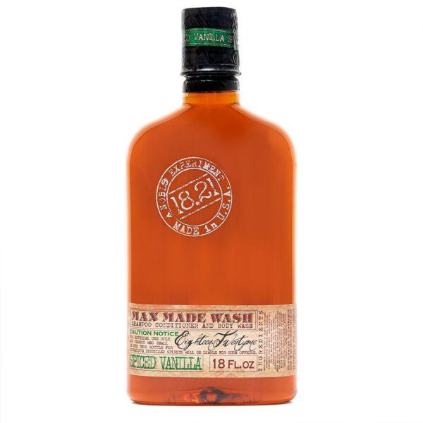18.21 Man Made Wash trzy w jednym - szampon, odżywka i żel pod prysznic o zapachu pikantnej wanilii w butelce przypominającej whisky, 500 ml