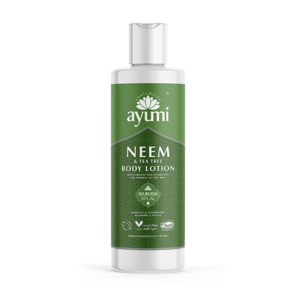 Ayumi balsam do ciała z miodlą i olejem z drzewa herbacianego w zielonej butelce prezentowany na białym tle