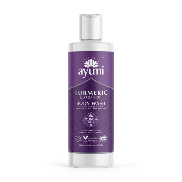 Ayumi - fioletowa butelka z płynem do mycia ciała prezentowana na białym tle
