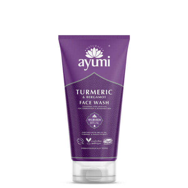 Ayumi - fioletowa tuba z żelem do mycia twarzy prezentowana na białym tle