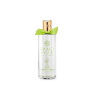 grace cole żel pod prysznic w kolorze białym o zapachu lilii i werbeny w przezroczystej butelce przedstawiony na białym tle