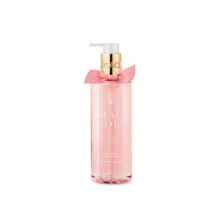 grace cole mydło w płynie do rąk w kolorze różowym o zapachu peonii i różowej orchidei w przezroczystej butelce prezentowane na białym tle