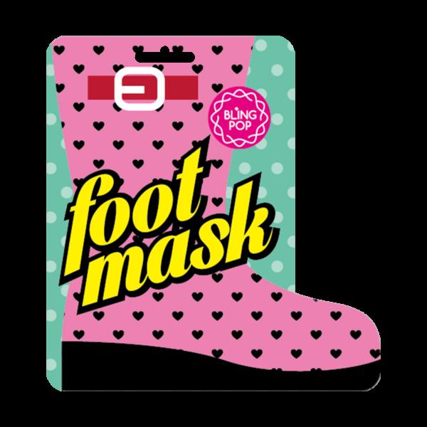 bling pop maska do stóp z masłem shea regenerująca przedstawiona na białym tle
