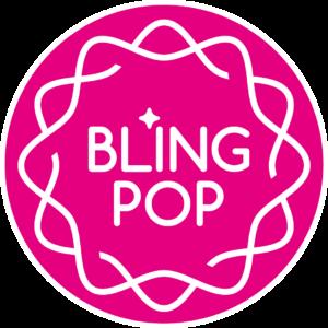 bling pop logo marki różowe na białym tle