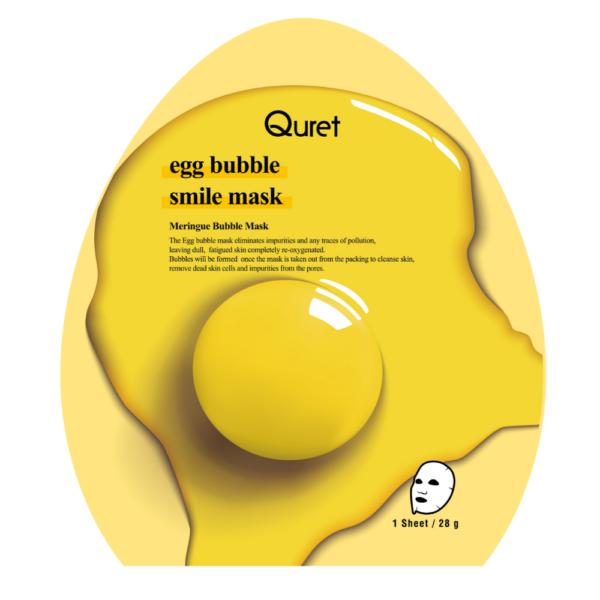 quret oczyszczająca maska bąbelkowa z jajkiem w żółtym opakowaniu przedstawiona na białym tle