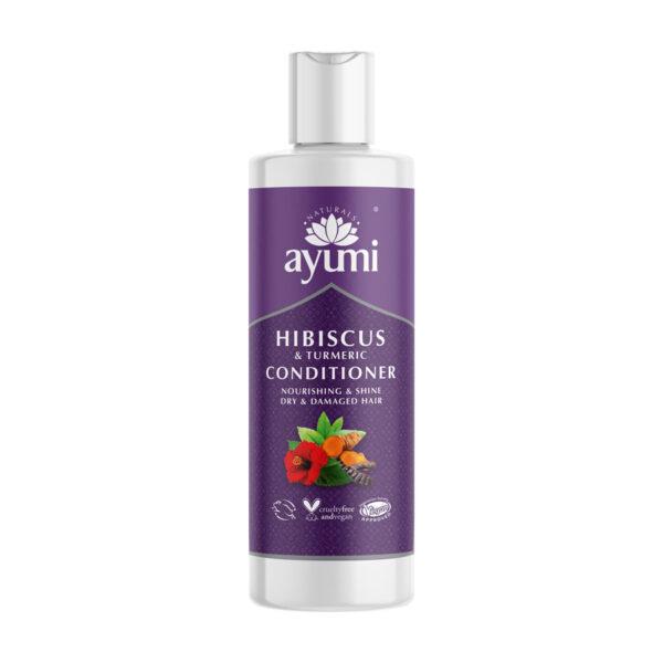 ayumi odżywka nawilżająca do włosów zniszczonych i suchych w fioletowym opakowaniu przedstawiona na białym tle