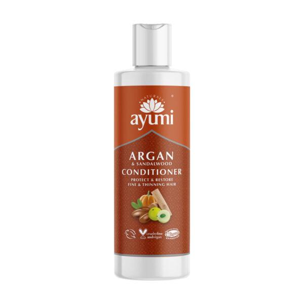 ayumi odżywka do włosów cienkich i delikatnych z olejkiem arganowym w opakowaniu o barwie ceglastej przedstawiona na białym tle