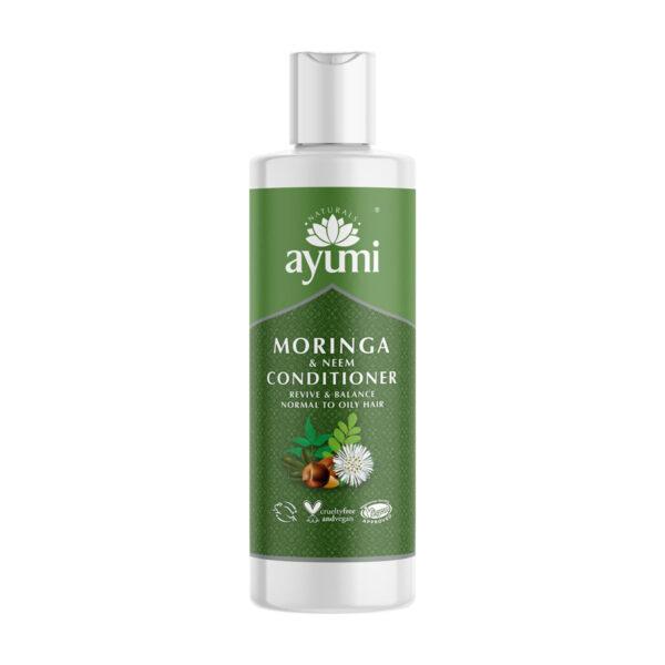 ayumi odżywka do włosów przetłuszczających się z neem i moringą w zielonym opakowaniu przedstawiona na białym tle