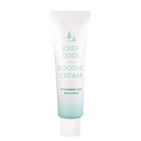 keep cool soothe regenerująco-łagodzący krem do twarzy w zielonym opakowaniu przedstawiony na białym tle