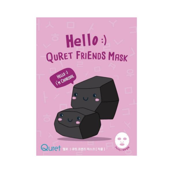 quret oczyszczająca maska w płachcie z węglem w fioletowym opakowaniu przedstawiona na białym tle