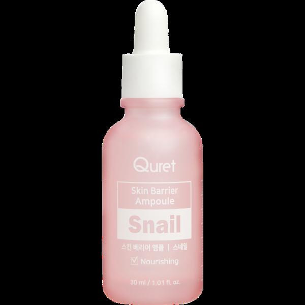 quret ampułka z ekstraktem ze śluzu ślimaka w różowej butelce przedstawiona na białym tle