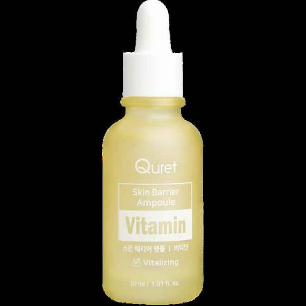 quret ampułka z witaminą c rozjaśniająca w żółtej butelce przedstawiona na białym tle