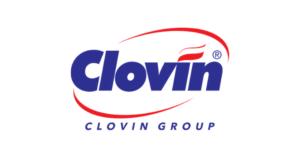 logo marki clovin oferującej produkty do dezynfekcji skóry oraz powierzchni przedstawione na białym tle