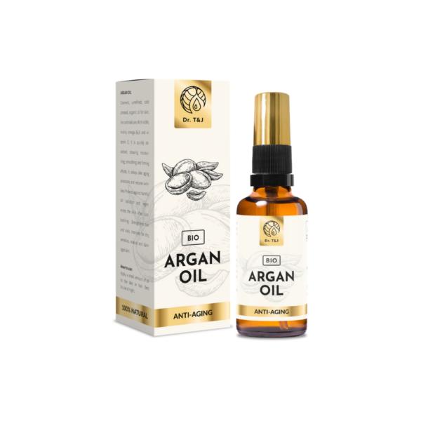 dr. t&j naturalny olej arganowy bio 50ml w przezroczystej butelce z pompką ze złotą zakrętką przedstawiony na białym tle