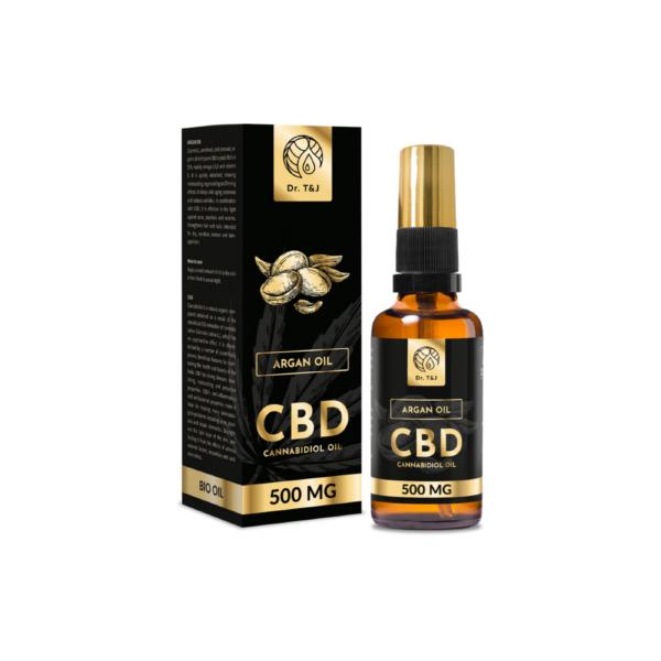 dr. t&j naturalny olej arganowy bio o pojemności 50ml z dodatkiem 500mg cbd w przezroczystej butelce z pompką ze złotą zakrętką przedstawiony na białym tle