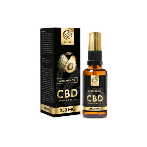 dr. t&j naturalny olej awokado bio o pojemności 50ml z dodatkiem 250mg cbd w przezroczystej butelce z pompką ze złotą zakrętką przedstawiony na białym tle