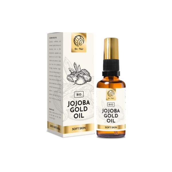 dr. t&j naturalny olej jojoba bio 50ml w szklanej butelce z pompką przedstawiony na białym tle