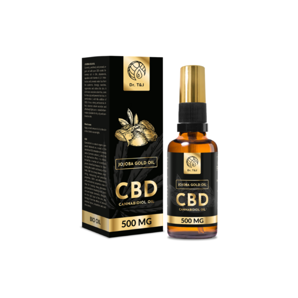 dr. t&j naturalny olej jojoba bio o pojemności 50ml z dodatkiem 500 mg cbd w przezroczystej butelce z pompką ze złotą zakrętką przedstawiony na białym tle