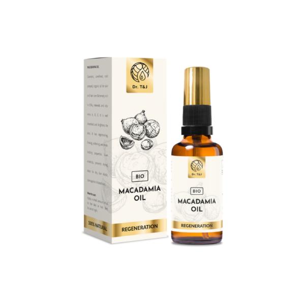 dr. t&j naturalny olej macadamia bio 50ml w przezroczystej butelce z pompką ze złotą zakrętką przedstawiony na białym tle