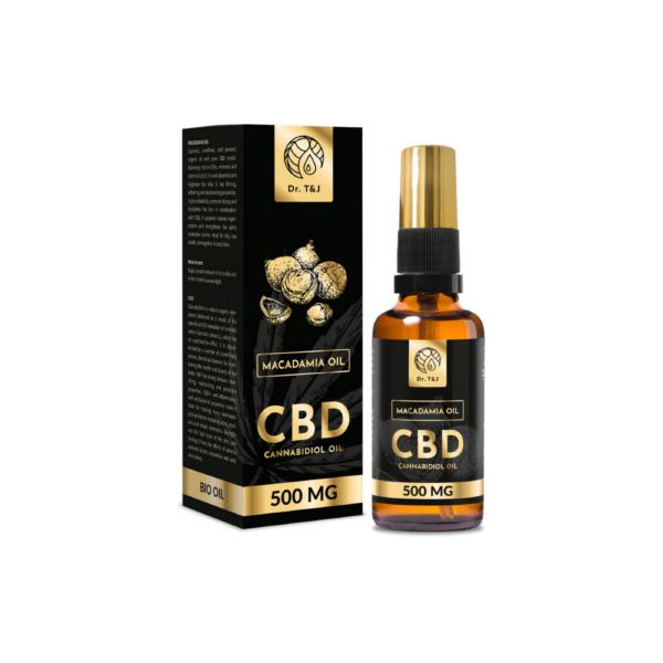 dr. t&j naturalny olej macadamia bio o pojemności 50ml z dodatkiem 500 mg cbd w przezroczystej butelce z pompką ze złotą zakrętką przedstawiony na białym tle