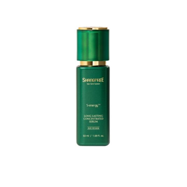 shangpree przeciwzmarszczkowe serum do twarzy w zielonym opakowaniu przedstawione na białym tle