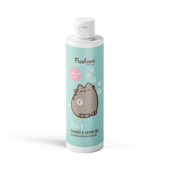 Pusheen szampon i żel pod prysznic 2w1 o pojemności 400ml w białej butelce z miętową etykietą z kotem przedstawiony na białym tle