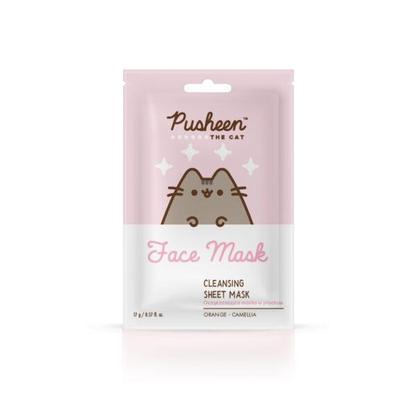 Pusheen oczyszczająca maska w płachcie do twarzy w różowo białym opakowaniu przedstawiona na białym tle