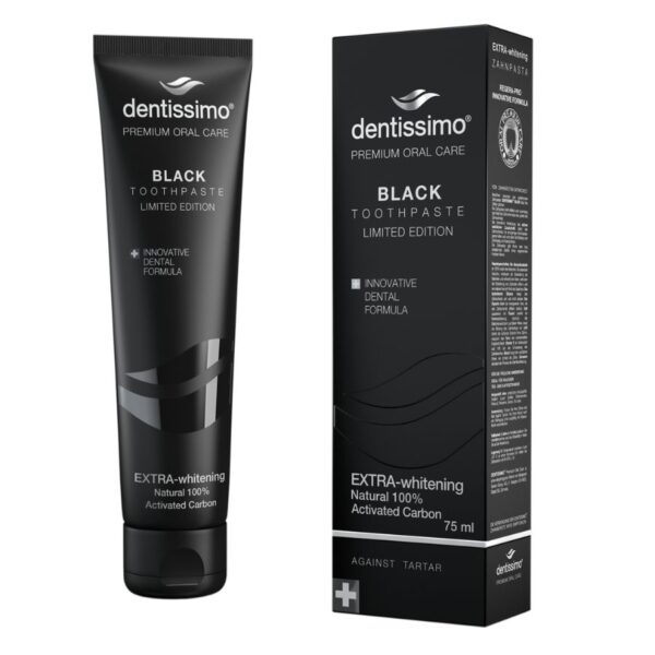 dentissimo black extra whitening wybielająca pasta do zębów z węglem aktywnym w czarnym opakowaniu przedstawiona na białym tle