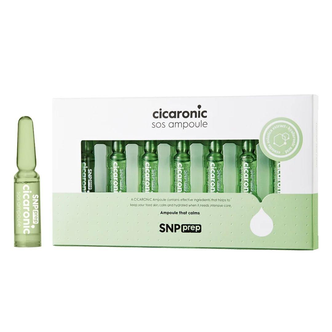 snp prep cicaronic ampułki łagodzące z kwasem hialuronowym i wakrotką azjatycką przedstawione w zielonym opakowaniu ns białym tle
