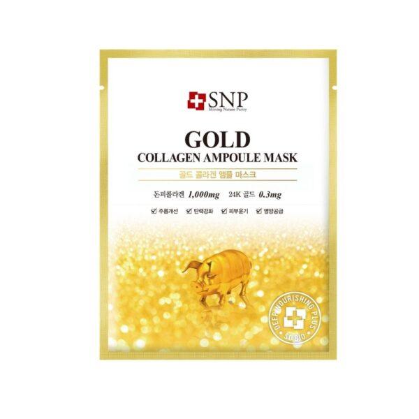 SNP Gold - Ujędrniająca maska w płachcie z kolagenem i złotem przedstawiona na białym tle