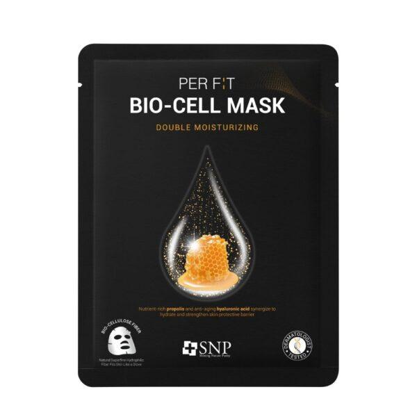 SNP Intensywnie nawilżająca maska w płachcie z biocelulozy w czarnym opakowaniu przedstawiona na białym tle