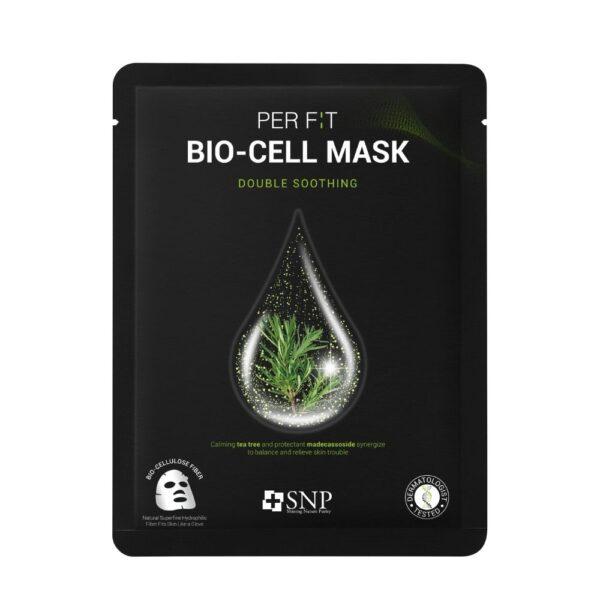 SNP Intensywnie łagodząca maska w płachcie z biocelulozy w czarnym opakowaniu przedstawiona na białym tle