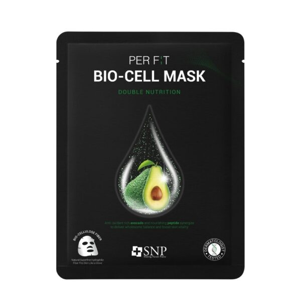 SNP Intensywnie odżywcza maska w płachcie z biocelulozy w czarnym opakowaniu przedstawiona na białym tle