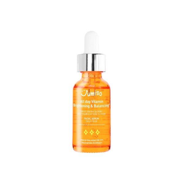 Helloskin Jumiso Serum do twarzy o działaniu przeciwzmarszczkowo-rozświetlającym w pomarańczowym opakowaniu przedstawione na białym tle