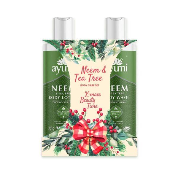 Ayumi Świąteczny zestaw do pielęgnacji ciała - Balsam i Płyn do mycia ciała w zielonym opakowaniu przedstawiony na białym tle