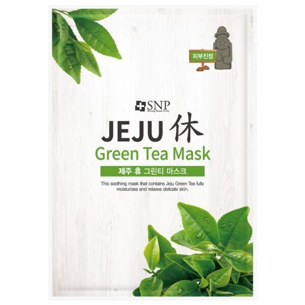 SNP Łagodząca maska w płachcie z ekstraktem z zielonej herbaty przedstawiona na białym tle
