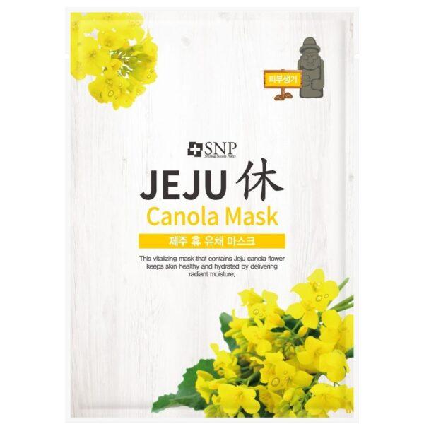 SNP Energetyzująca maska w płachcie z ekstraktem z kwiatu canola w jasno szarym opakowaniu z żółtymi kwiatami przedstawiona na białym tle