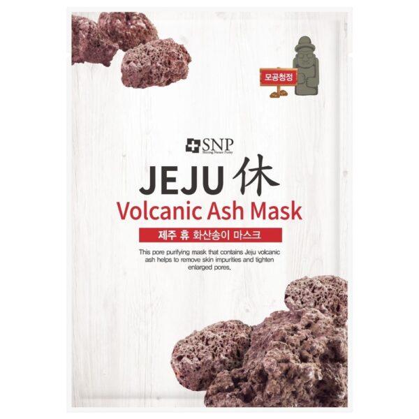 SNP Oczyszczająca maska w płachcie z pyłem wulkanicznym przedstawiona na białym tle