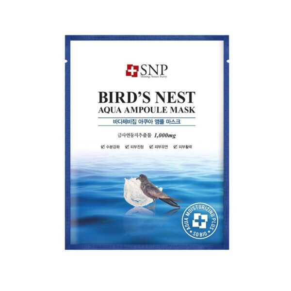 SNP Nawilżająco-rewitalizująca maska w płachcie z ekstraktem z ptasich gniazd przedstawiona na białym tle