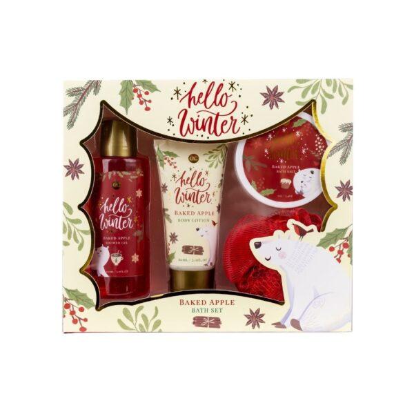 Hello Winter - Zestaw do pielęgnacji ciała zawierajacy balsam do ciała, żel pod prysznic, sól do kąpieli oraz gąbkę do ciała przedstawiony na białym tle