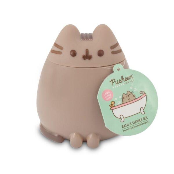 pusheen kot 3d żel do kąpieli i pod prysznic w kształcie kota pusheen w brązowym opakowaniu przedstawiony na białym tle