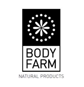 logo naturalnej marki greckiej do pielęgnacji twarzy, ciała i włosów bodyfarm przedstawione na białym tle