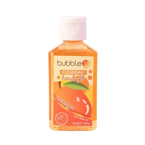 Bubble T - Żel antybakteryjny | Mango w pomarańczowej butelce przedstawiony na białym tle